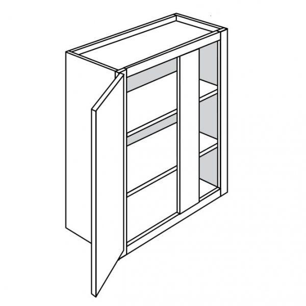 Dark Cherry Wall Cabinet U2013 1 Door 2 Shelves W30u2033 H36 D12u2033