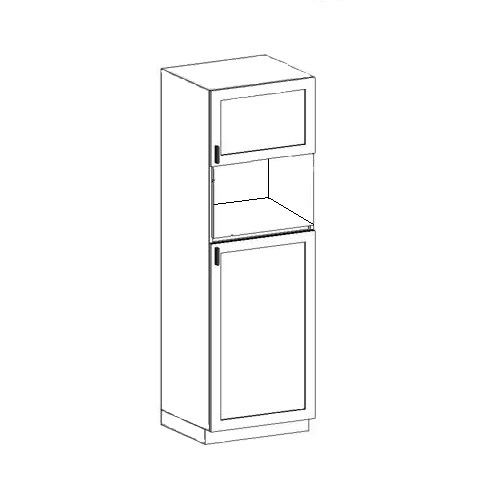 """Pure White Tall Microwave Cabinet - 2 Doors W24"""" H84"""" D24 ..."""